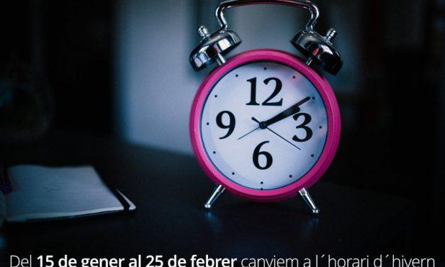 Del 15 de gener al 25 de febrer canviem a l´horari d´hivern