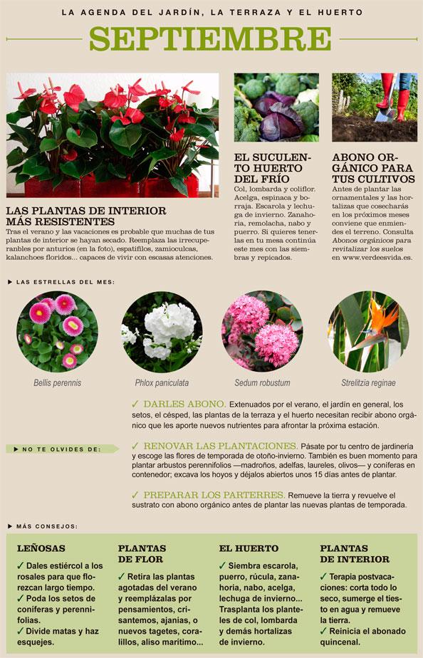 Agenda del Huerto y Jardín para el mes de Septiembre