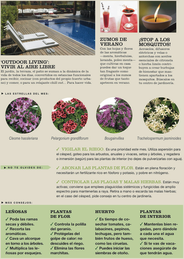 Agenda del Jardín de Julio.