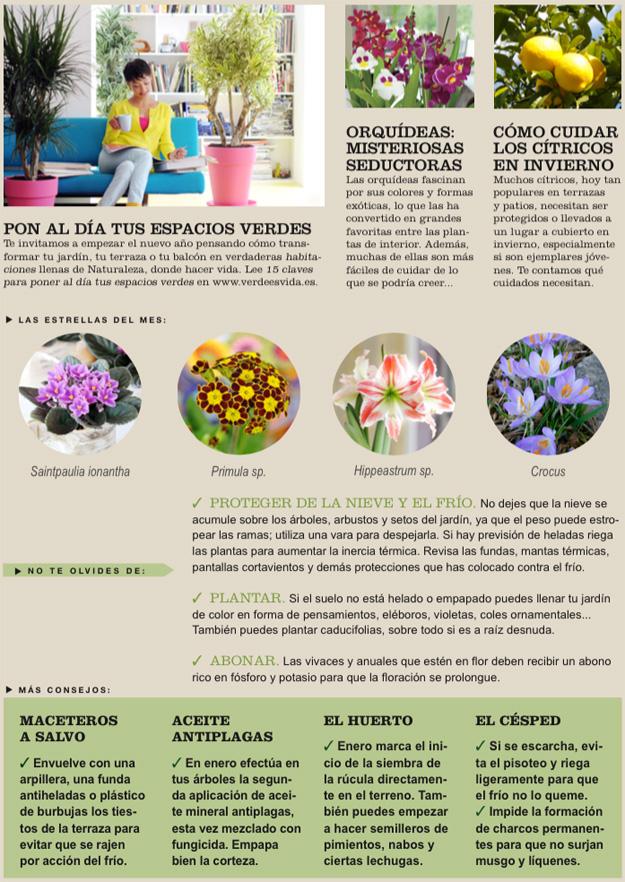 Agenda del Huerto y Jardín de Enero.
