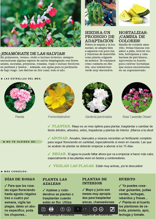 Agenda del Huerto y Jardín de Mayo.