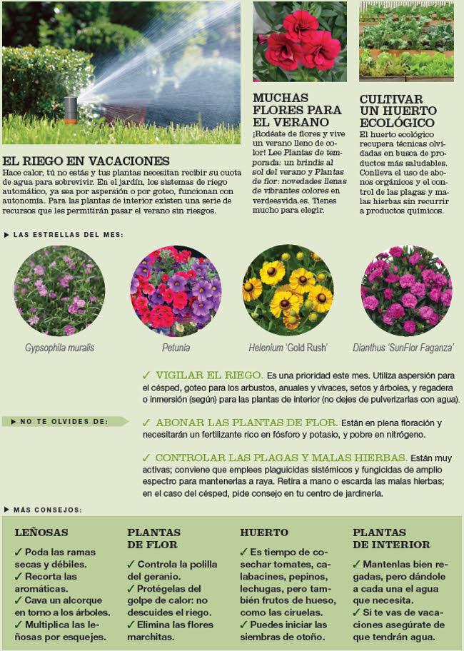 Agenda del Huerto y Jardín de Julio.